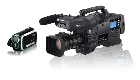 Full HD P2 Panasonic compared to a small consumer camera.